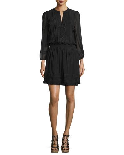 Pima Silk Georgette Lace-Inset Dress, Caviar