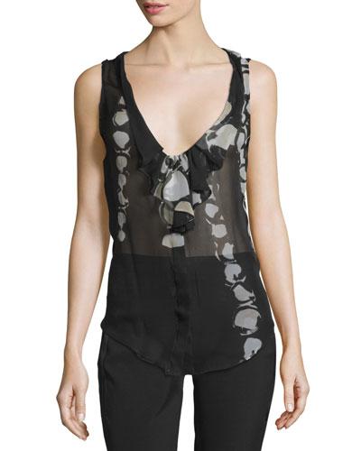 Sheer Silk Blouse, Black