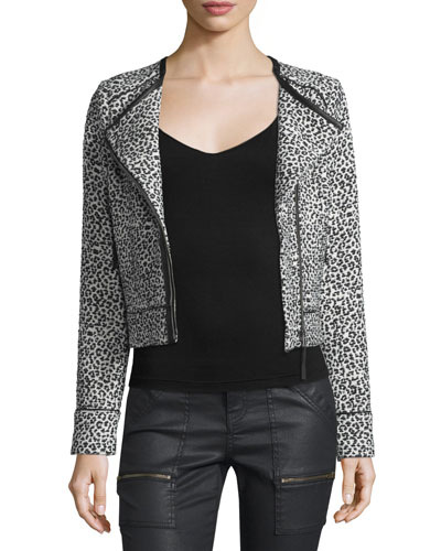 Pattyn Leopard-Print Moto Jacket