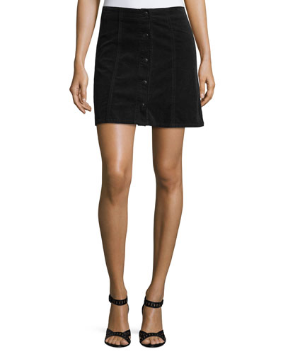 Tilda Snap-Front Corduroy Mini Skirt