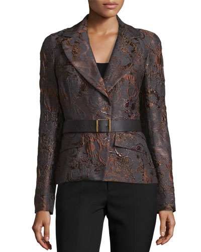 Narrow Belted Jacket, Charcoal/Auburn