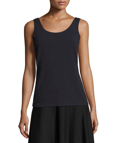 Perfect Jersey Scoop-Neck Tank, Midnight, Petite