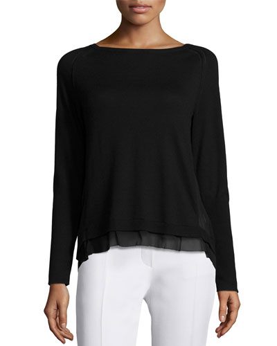 Sweater with Layered Hem Detail, Black