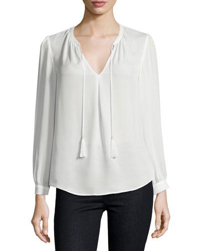 Calla Long-Sleeve Tassel-Tie Top, Porcelain