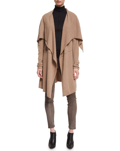 Audriana Oversized Draped Cashmere Sweater, Camel