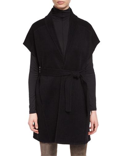 Whitley Short-Sleeve Wool-Blend Wrap Coat, Black
