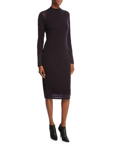 Kenza Mock-Neck Cashmere Sweaterdress, Black