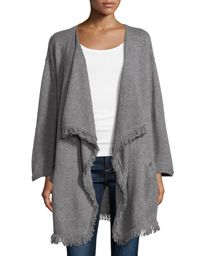 Farid Fringe Open-Front Tweed Cardigan