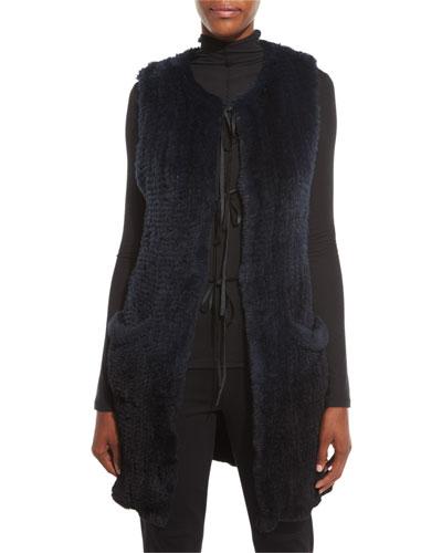 Jill Long Ribbon-Tie Rabbit Fur Vest, Stargazer/Black