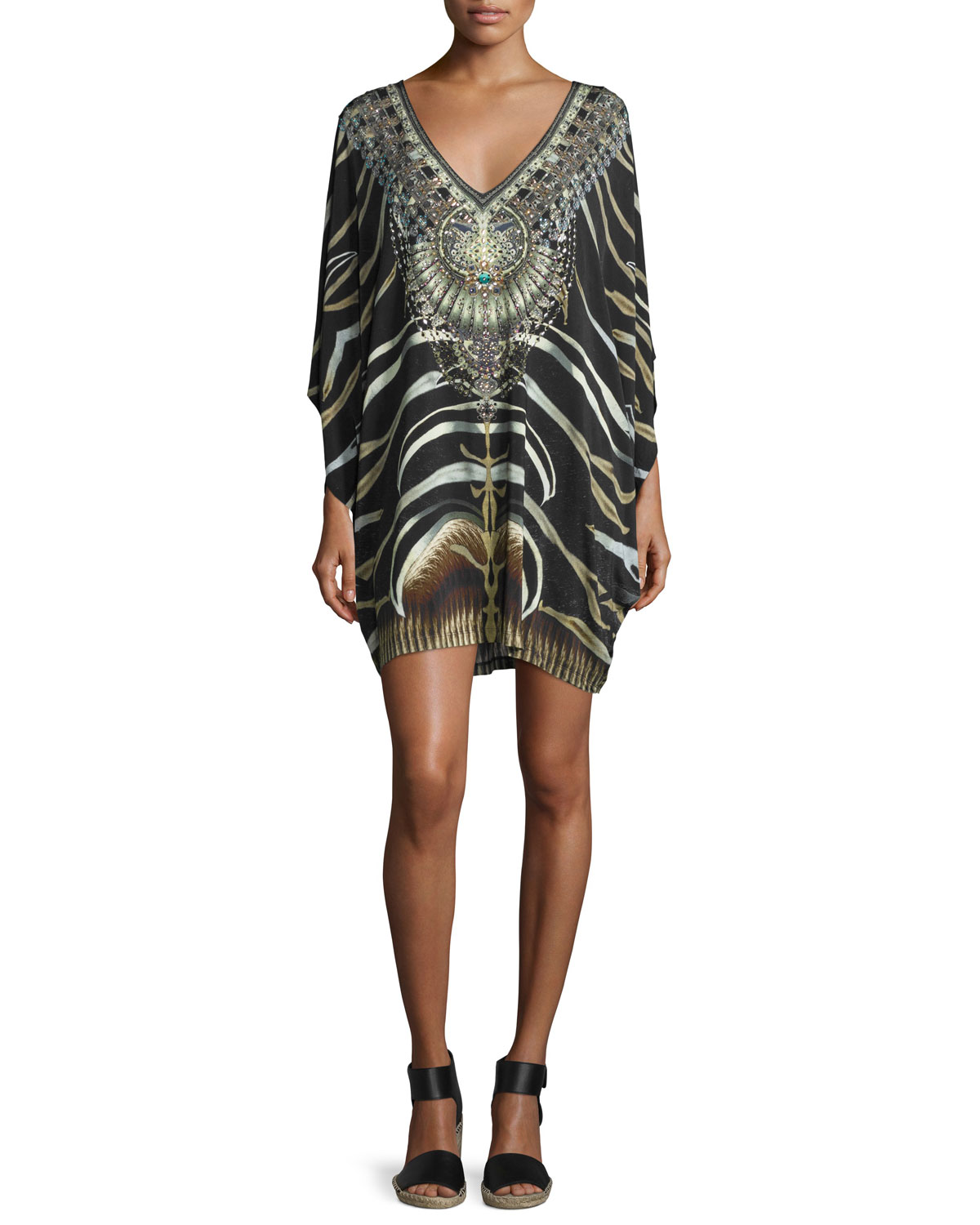 Embellished Batwing-Sleeve Dress, Zebra Crossing