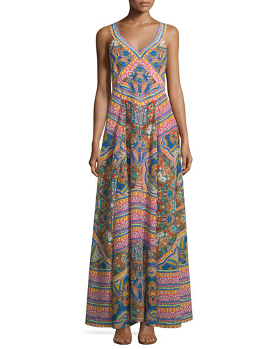 Embellished Patchwork-Print Maxi Dress, Kenyan Kaleidoscope