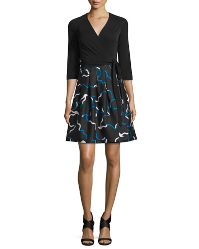 Jewel Mikado-Skirt Wrap Dress, Black/Balestra Black