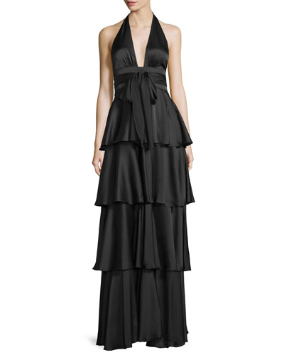Tiered Satin Halter Gown, Black