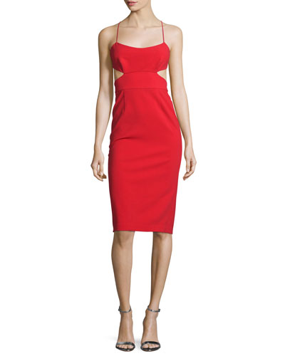 Sleeveless Cutout Stretch Crepe Cocktail Dress, Apple Red