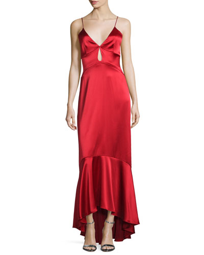 Sleeveless High-Low Satin Gown, Apple Red
