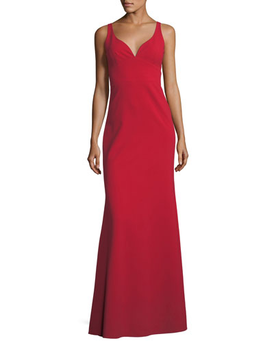 Sleeveless Crepe Faux Sweetheart Gown, Sapphire
