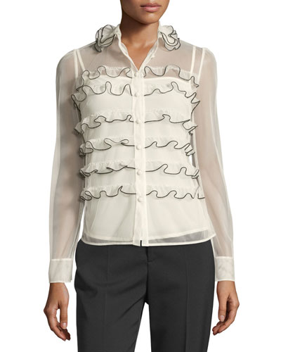 Long-Sleeve Ruffle-Trim Button-Front Tulle Blouse
