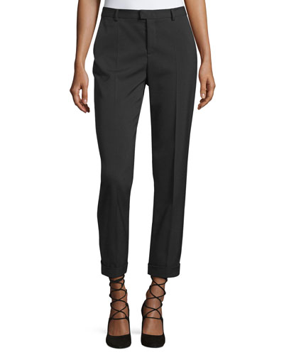 Cuffed Wool-Blend Ankle Pants, Black