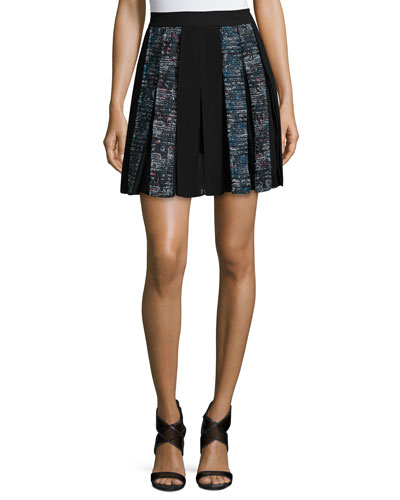 Maison Box-Pleated Miniskirt, Peacock/Black Multi