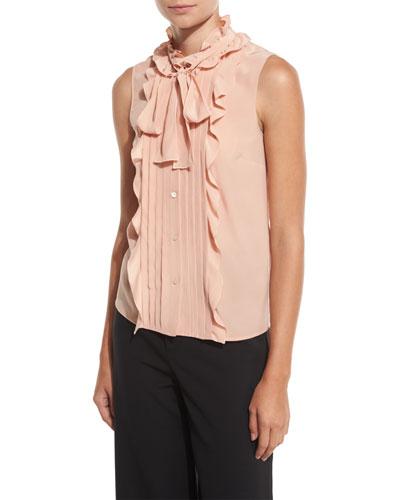 Sleeveless Pintucked & Ruffled Tie-Neck Silk Blouse, Nude