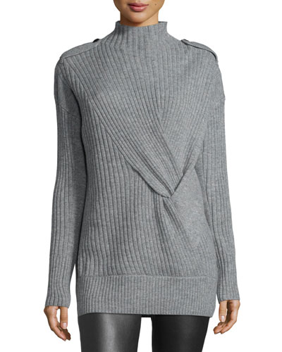 Dale Ribbed Wool Sweater, Light Gray