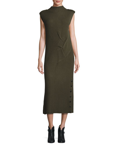 Dale Ribbed Maxi Dress, Army