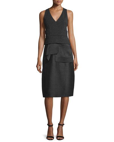 Sleeveless Layered Detail Dress, Black