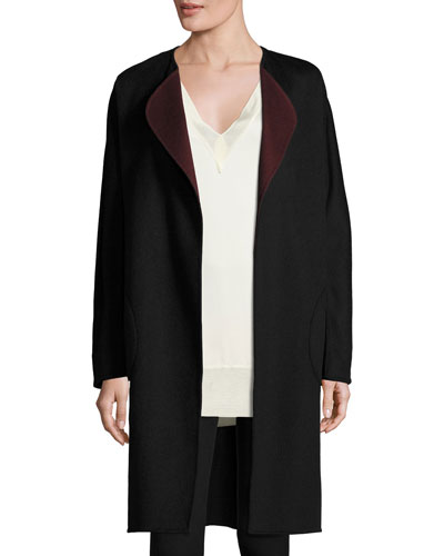 Singer Belted Wool Coat, Port/Black