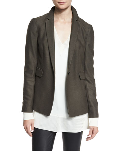 Club Wool Single-Button Jacket, Army Green in Black
