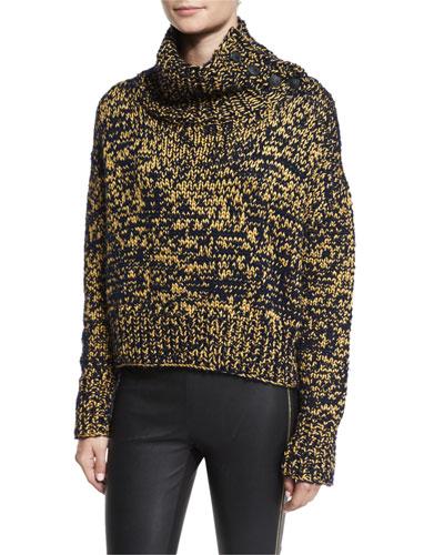 Sandra Cropped Melange Turtleneck Sweater, Navy/Gold