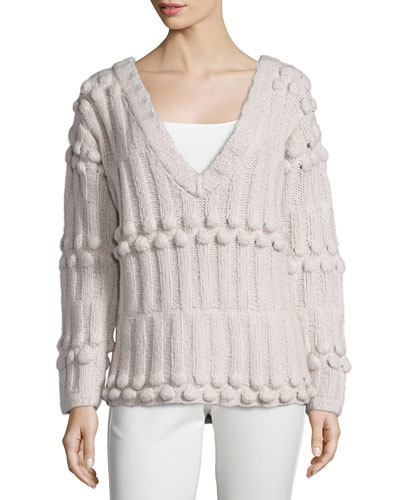 V Neck Sweater with Ribbing Detail, Buff