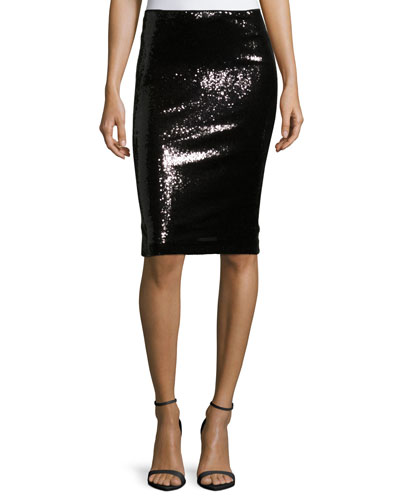 Sequined Pencil Skirt, Black