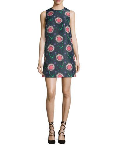 Sleeveless Wishing Flower-Print Shift Dress, Navy