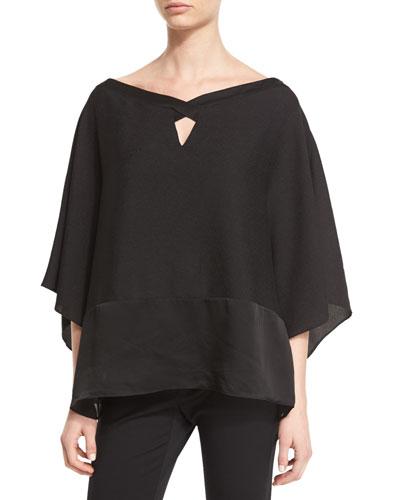 Off-The-Shoulder Keyhole Poncho Top, Black