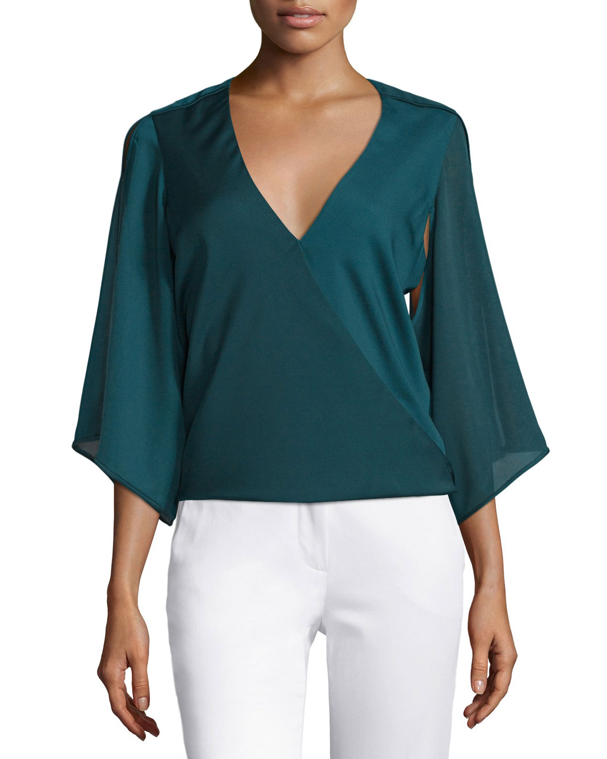 Slit Sleeve Wrap Blouse, Spruce