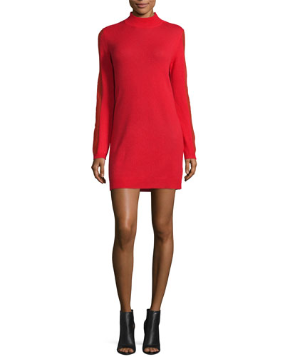 Cashmere Open-Back Sweaterdress, Lipstick