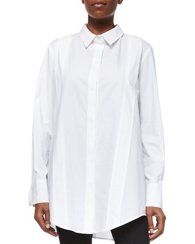 Tailored Cotton Poplin Tunic, White