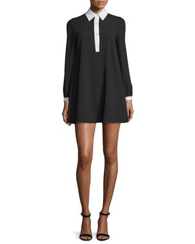 Fatima Contrast-Trim Babydoll Dress, Black/White