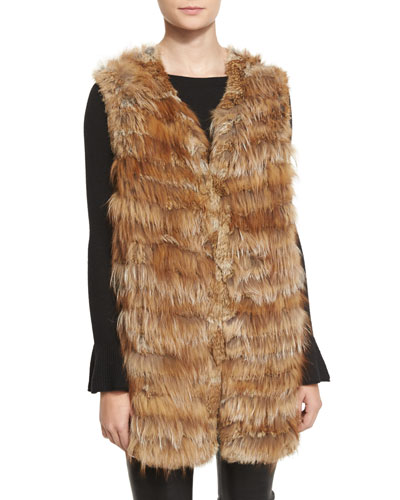 Joss Fox & Rabbit Fur Knit Vest