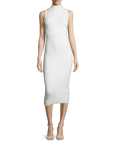 Hana Mock-Neck Ribbed Midi Dress