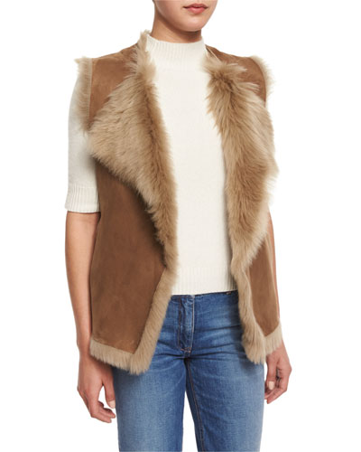 Petriva Tuck Suede Shearling-Lined Reversible Vest
