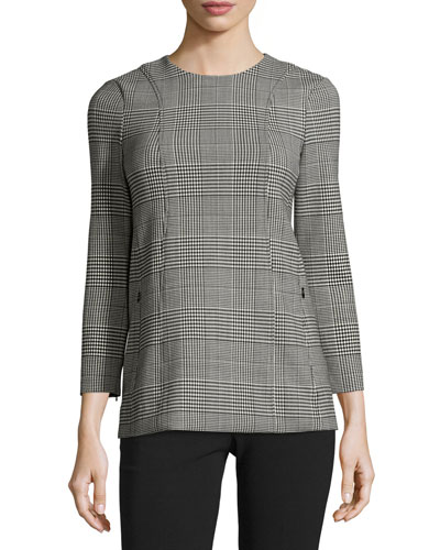 Lauret CL Portland Glen-Plaid Top, Black/White
