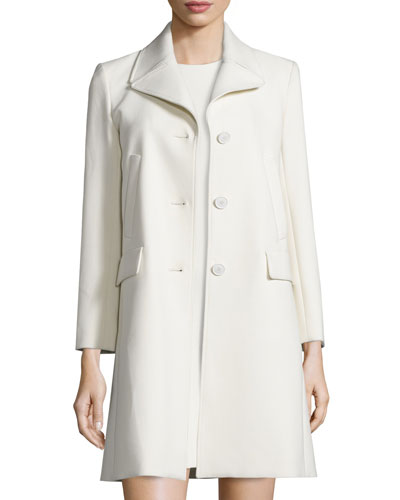 Nidian Pioneer Twill Button-Front Coat, Pearl Ivory