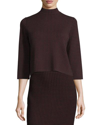 Harmona JH Evian Houndstooth Sweater, Black/Sumac