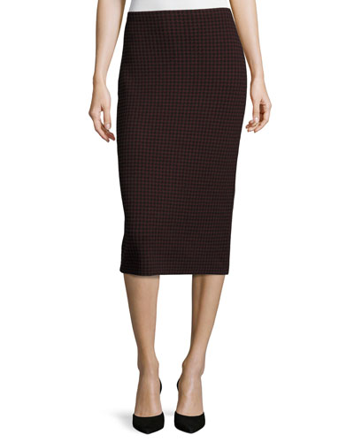 Ornita J Evian Houndstooth Pencil Skirt, Black/Sumac