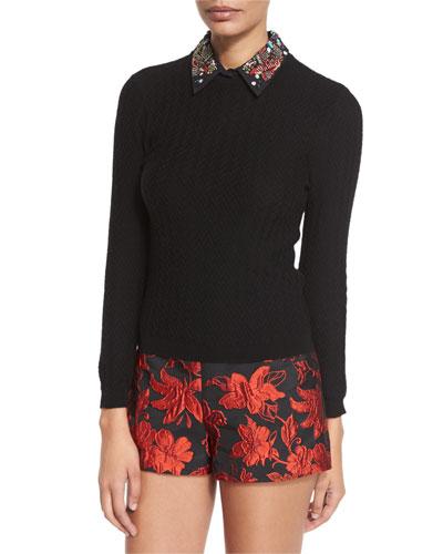 Brooke Embellished-Collar Sweater
