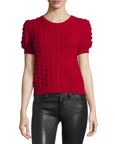 Blair Puff-Sleeve Bobble Sweater