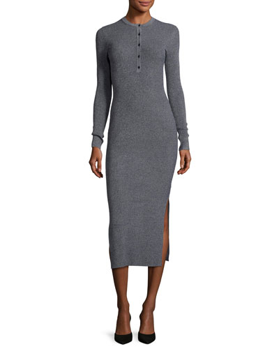 Lilyara Volt Henley Midi Dress, Navy Mix