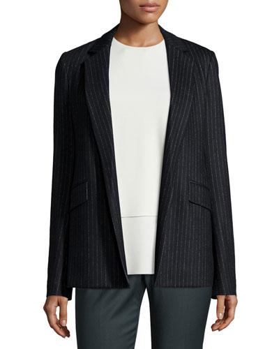 Sedeia LSK Melbourne Pinstripe Open-Front Blazer, Black