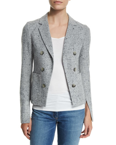 Jonita K Parkdale Double-Breasted Jacket, Light Gray Multi